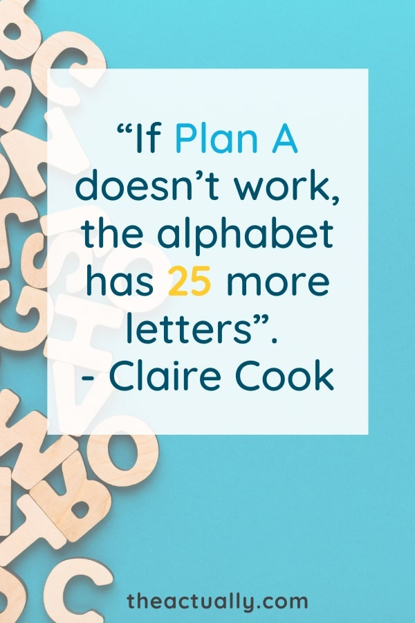 Graphic of Claire Cook's quote, one of the 12 quotes on planning.