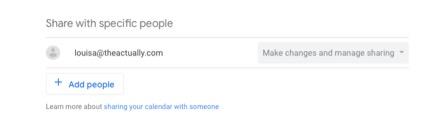 Screenshot on how to set up shared google calendar